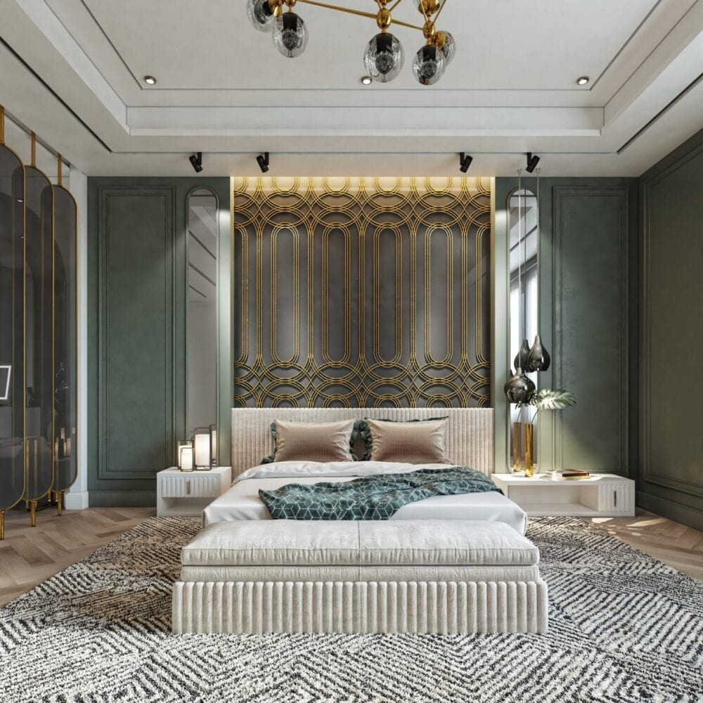 ديكورات غرف نوم خضراء