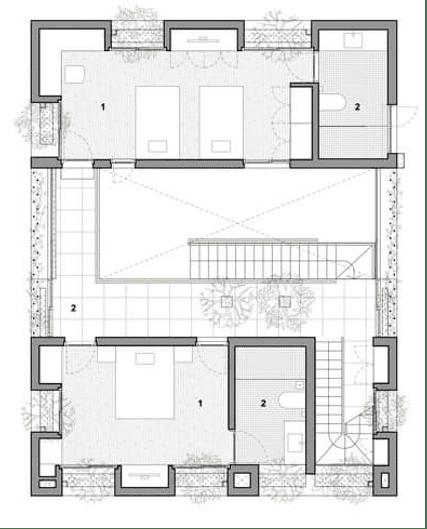 قطاع افقي في الدور الارضي (plan ground floor)