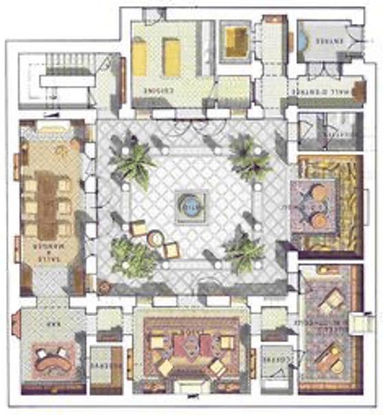 مخطط افقي في الدور الارضي (plan ground floor)