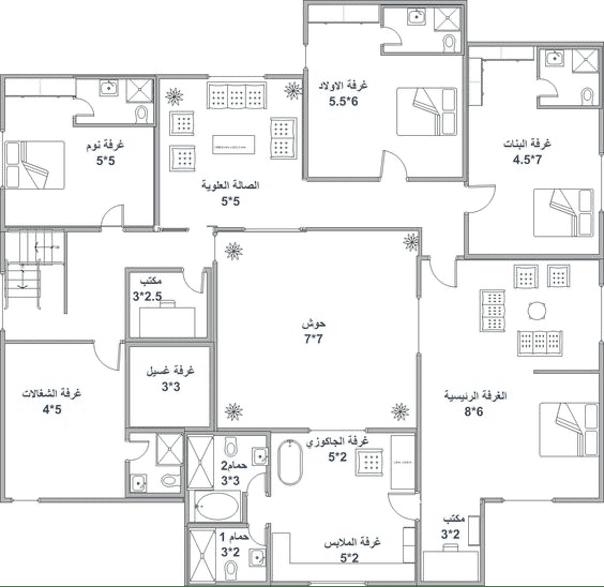مخطط افقي في الدور الاول (first floor plan)